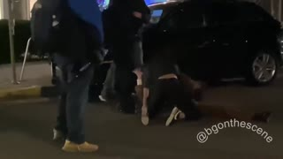 Antifa attacks a young woman after she tells them to stop their violence. Dissent is not allowed.